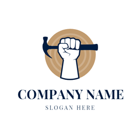 Hammer and Woodworking Worker logo design