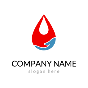 Hand and Blood Drop logo design