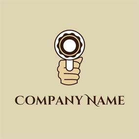 Hand and Pastry Gun logo design