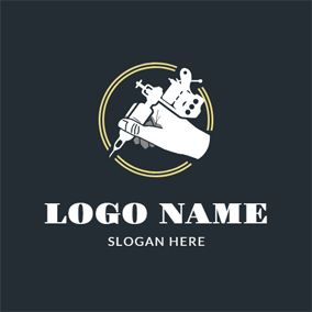 Hand and Tattoo Machine logo design