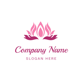 Hand and Yoga Lotus logo design