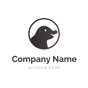Happy Black Mole and Circle logo design