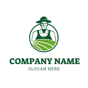 Happy Farmer and Grassland logo design