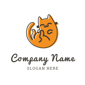 Happy Orange Cat logo design