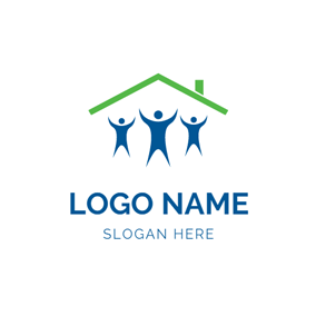 Happy People and Outlined House logo design
