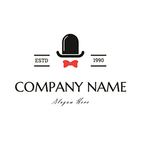 Hat Bow Tie Simple Butler Design logo design