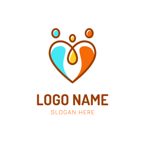 Heart and Abstract Family logo design