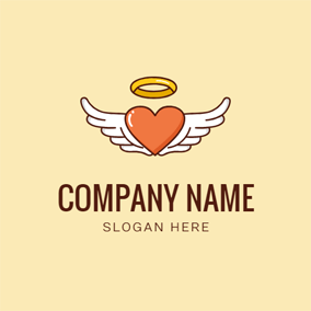 Heart and Angel Wing logo design