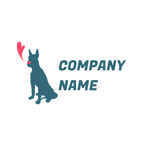 Heart and Green Dog logo design