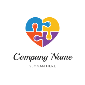 Heart Shape and Colorful Puzzle logo design