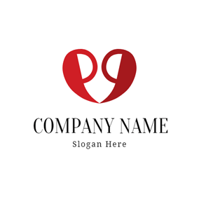 Heart Shape and Comma logo design