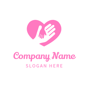 Heart Shape and Hand logo design