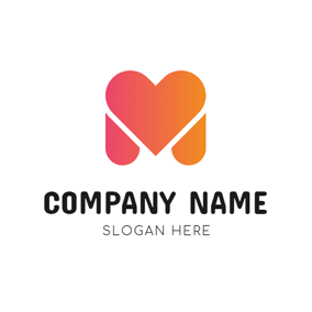 Heart Shape and M logo design