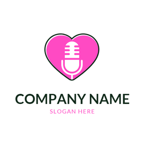 Heart Shape and Microphone logo design