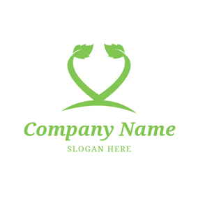 Heart Shape and Mint Leaf logo design