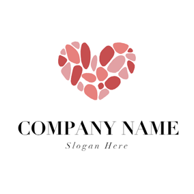 Heart Shape and Pink Stone logo design