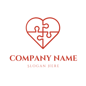 Heart Shape and Puzzle logo design