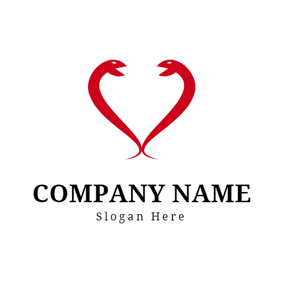 Heart Shape and Red Snake logo design