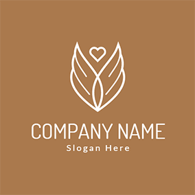 Heart Shape and Wing Icon logo design