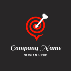Heart Shaped Arrow and Target logo design