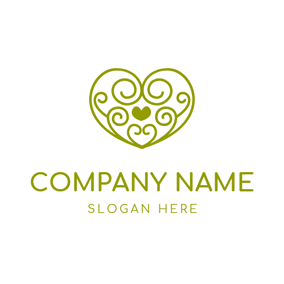Heart Shaped Green Curly Wine logo design