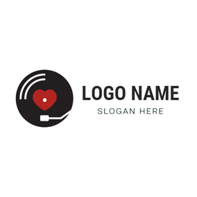 Heart Turntable and Vinyl logo design