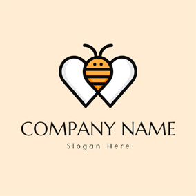 Heart Wing and Cartoon Bee logo design