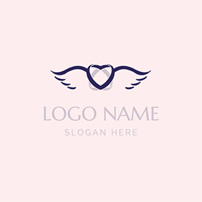 Heart Wings Shadow and Wedding logo design