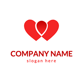 Hearts and Blood Drop logo design