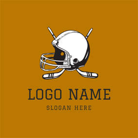Helmet and Cross Hockey Stick logo design
