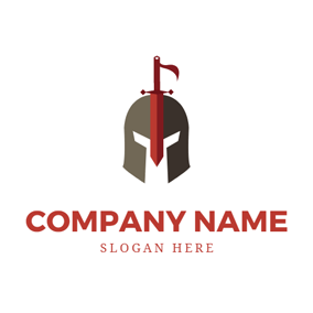 Helmet and Red Sword logo design