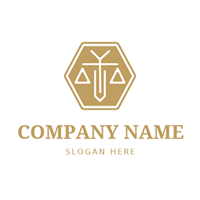 Hexagon Abstract Balance and Lawyer logo design