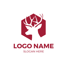 Hexagon and Elk Outline logo design