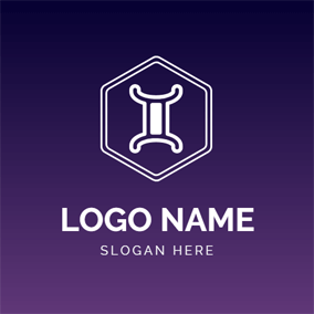 Hexagon and Flat Gemini logo design