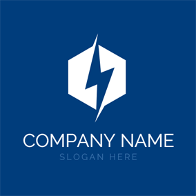 Hexagon and Overlapping Lightning logo design