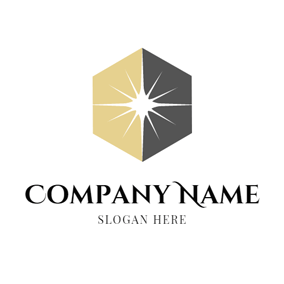 Hexagon and White Ray logo design