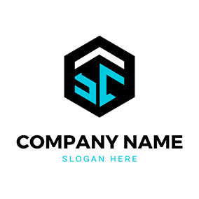 Hexagon Badge Letter S C logo design
