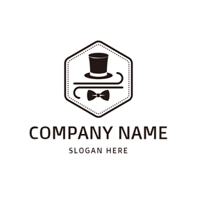 Hexagon Encircled Hat and Bowtie logo design