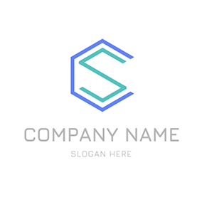 Hexagon Figure Letter C S logo design