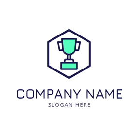 Hexagon Frame and Trophy logo design