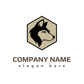 Hexagon Shape and Husky logo design