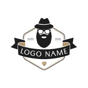 Hipster Head and Banner Badge logo design