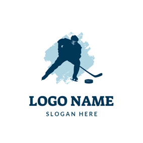 Hockey Athlete and Hockey Stick logo design
