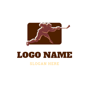 Hockey Player and Hockey Stick logo design
