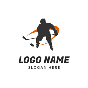 Hockey Player and Puck logo design
