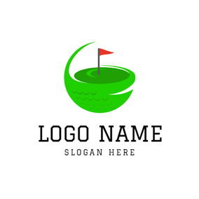 Hole and Golf Flag logo design
