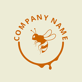 Honey and Flying Bee logo design