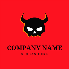 Horn Skull and Satan logo design