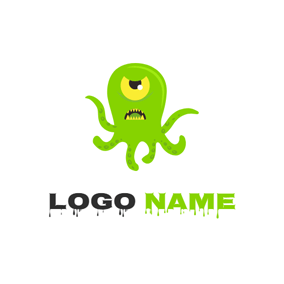 Horrific Green Octopus logo design