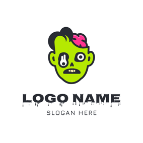 Horrific Green Zombie Head logo design